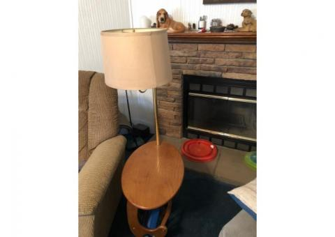 Table with lamp attached