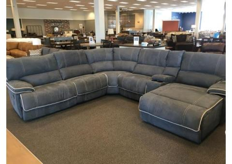 6 Piece Steel Blue Reclining Sectional